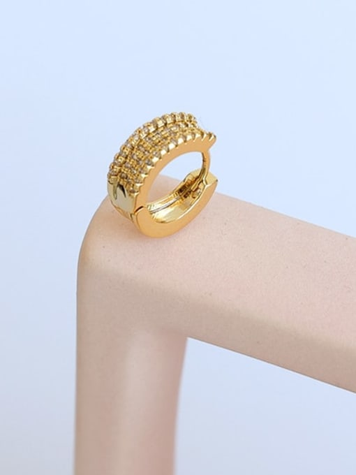 Five Color Brass Cubic Zirconia Geometric Hip Hop Single Earring 0