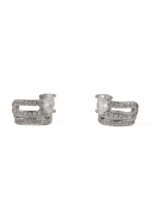 Platinum Brass Cubic Zirconia Geometric Classic Stud Earring