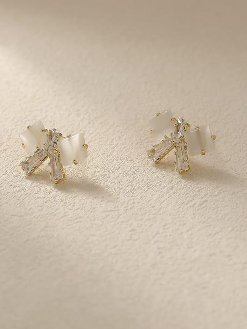 HYACINTH Brass Cats Eye Bowknot Vintage Stud Earring 3