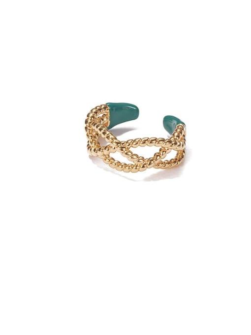ACCA Brass Enamel Cross Vintage Band Ring 3