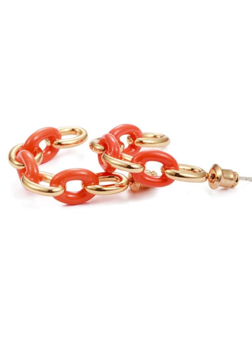 Five Color Brass Enamel Geometric Hip Hop Stud Earring 3