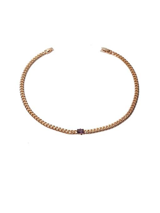 Purple zirconium Necklace Brass Cubic Zirconia Geometric Hip Hop Necklace