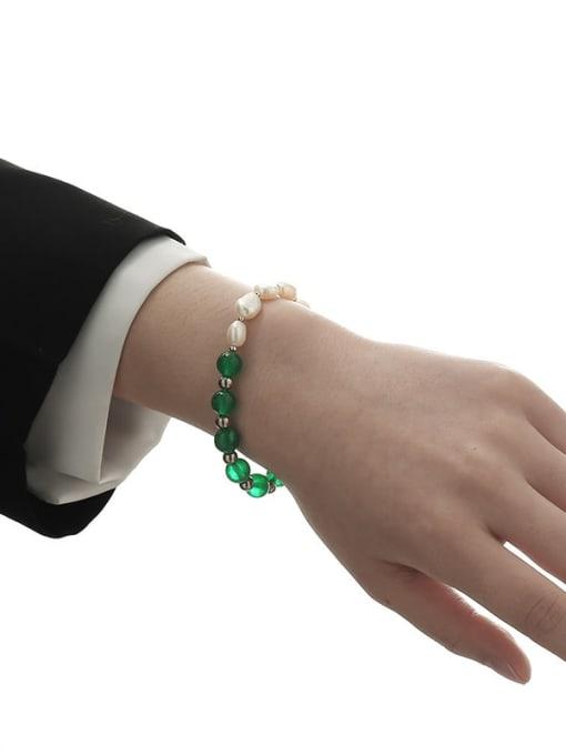 TINGS Brass Freshwater Pearl Geometric Hip Hop Beaded Bracelet 1