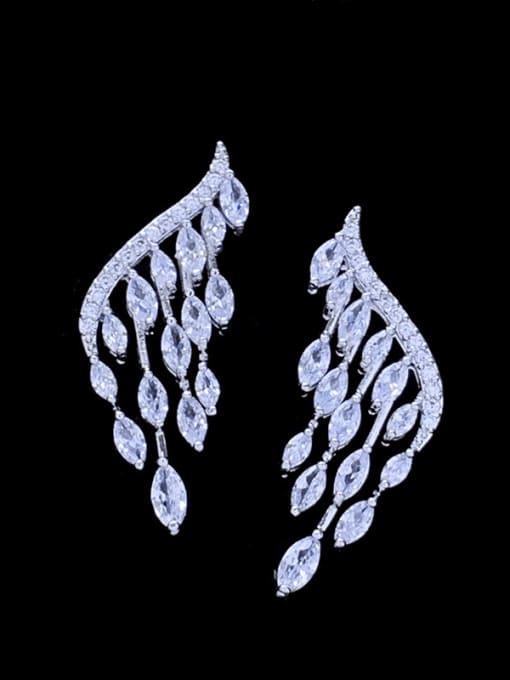 SUUTO Brass Cubic Zirconia Leaf Minimalist Stud Earring 1