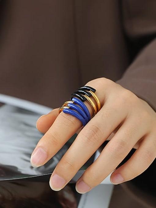 ACCA Zinc Alloy Enamel Geometric Minimalist Band Ring 3