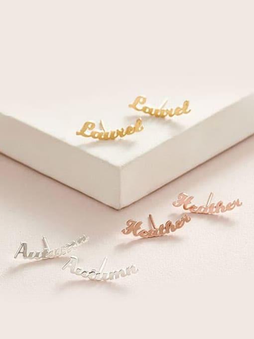 Desoto Stainless steel Letter Minimalist Custom Name Earrings 2