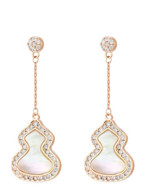 white Brass Enamel Irregular Minimalist Threader Earring