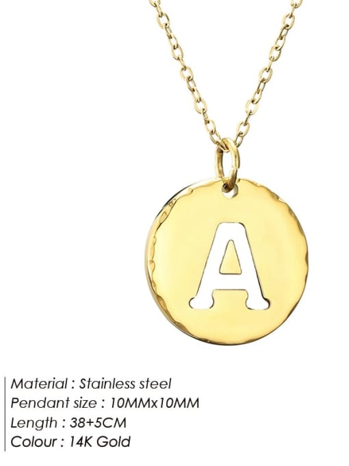 A Titanium Steel Letter Minimalist Round Pendant Necklace