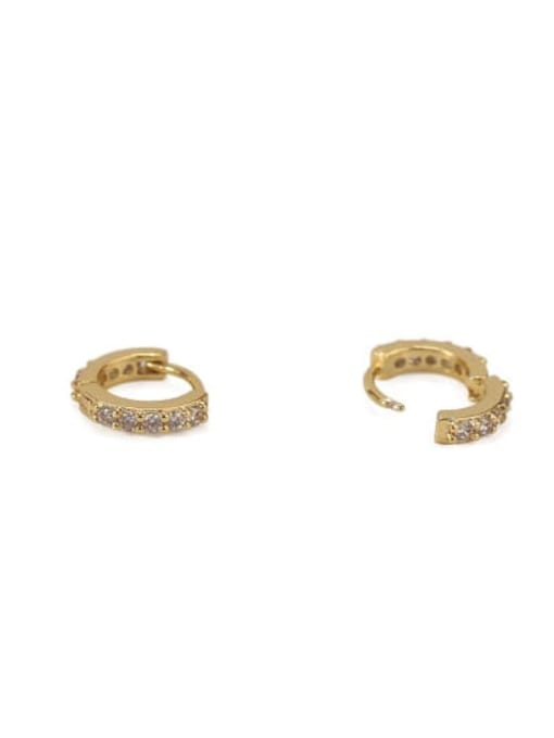 ACCA Brass Cubic Zirconia Round Minimalist Huggie Earring 2