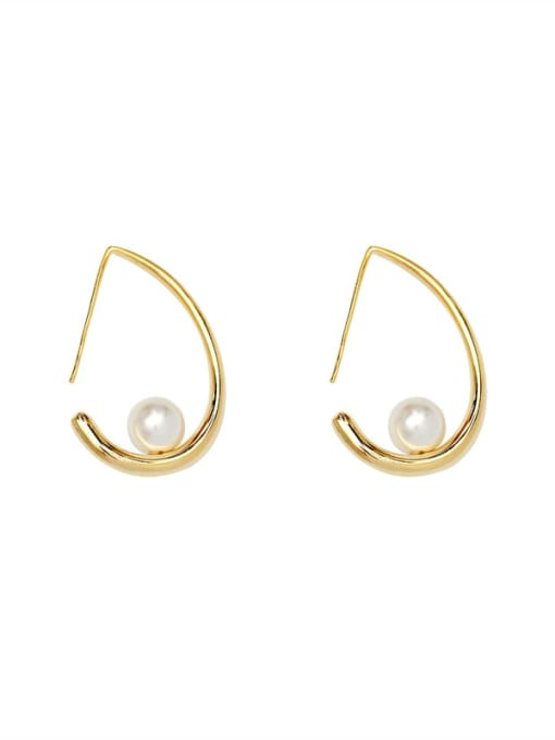 HYACINTH Brass Imitation Pearl Water Drop Minimalist Stud Earring 0
