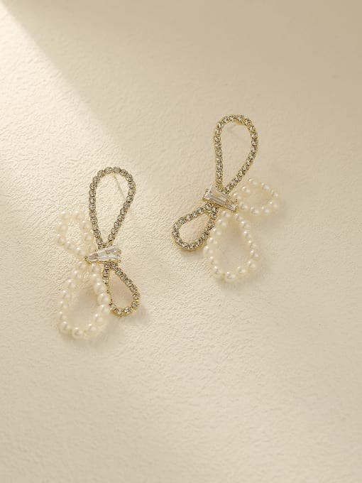 HYACINTH Brass Imitation Pearl Bowknot Vintage Stud Earring 0