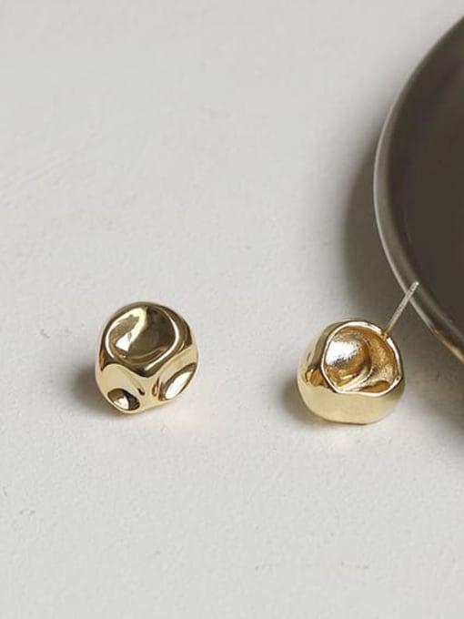 Concave convex alien Earrings Brass Round Vintage Stud Earring