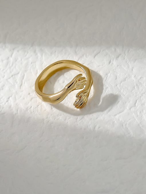 14k Gold Brass Irregular Vintage Band Fashion Ring