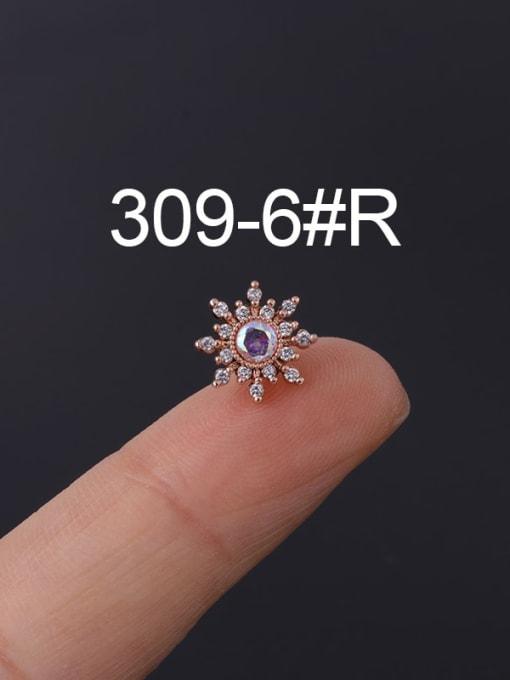 8 Rose Gold  Single Brass Cubic Zirconia Geometric Hip Hop Chandelier Earring