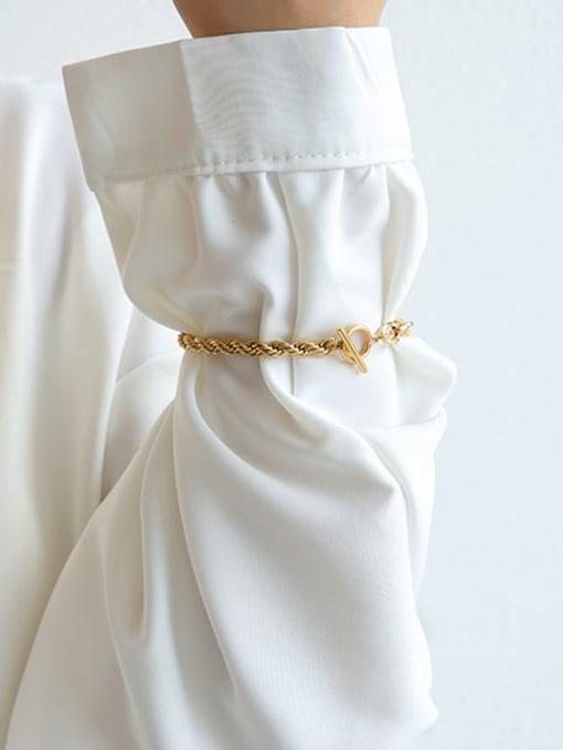 Five Color Brass Geometric Hip Hop Link Bracelet 2