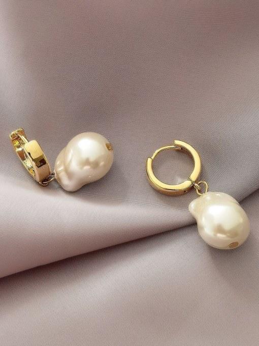 HYACINTH Brass Freshwater Pearl Geometric Minimalist Drop Earring 2