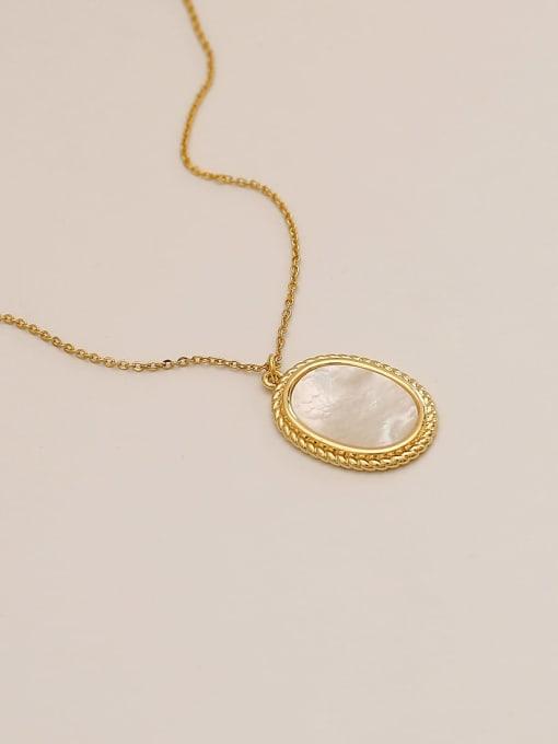 14k Gold Brass Shell Geometric Minimalist Pendant Necklace