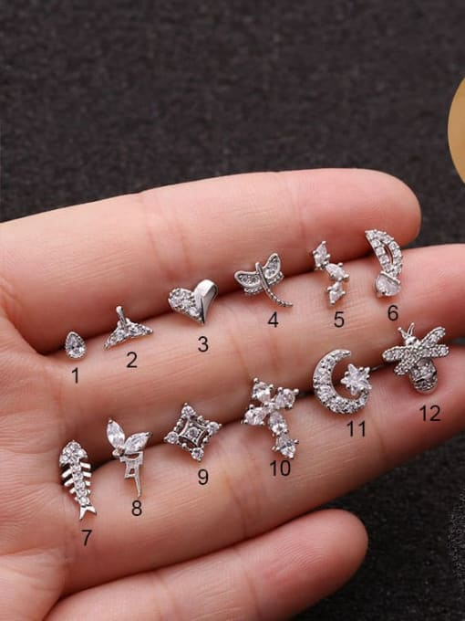 HISON Brass Cubic Zirconia Cross Cute Stud Earring