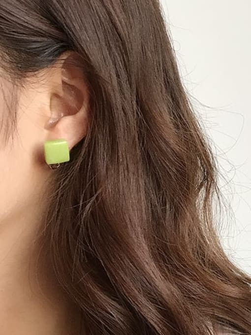 Five Color Alloy Enamel Geometric Cute Stud Earring 1