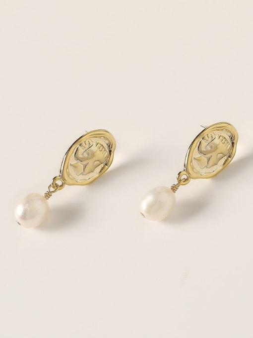 HYACINTH Brass Imitation Pearl Geometric Vintage Drop Earring