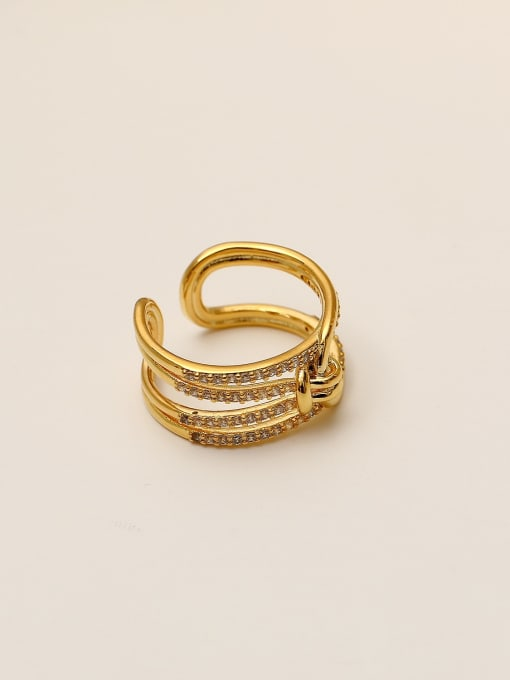 HYACINTH Brass Cubic Zirconia Geometric Vintage Stackable Ring 0