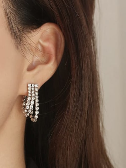 ACCA Brass Cubic Zirconia Geometric Vintage Drop Earring 1