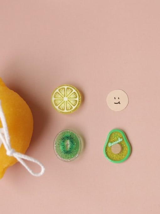 Five Color Alloy Resin Enamel Heart Cute Stud Earring