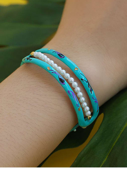 Five Color Zinc Alloy Imitation Pearl Enamel Geometric Minimalist Cuff Bangle 1