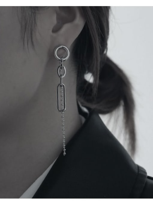 TINGS Brass Tassel Minimalist Threader Earring 2