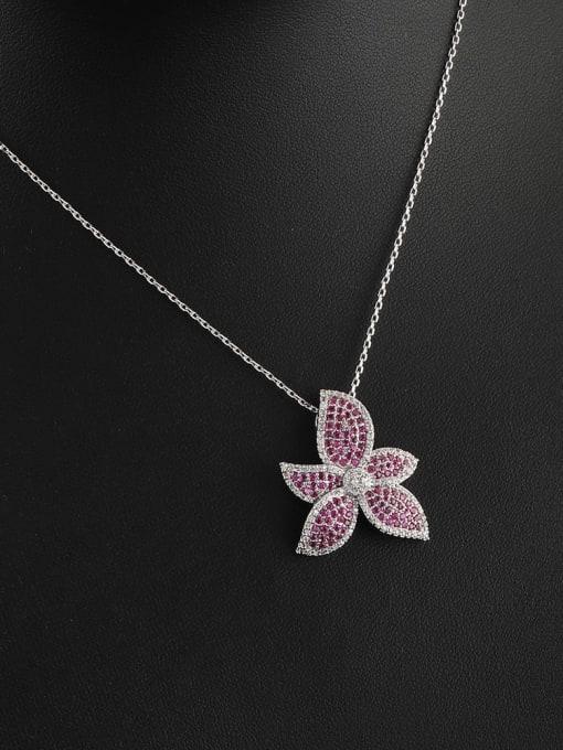 Platinum White Purple Brass Cubic Zirconia Flower Minimalist Necklace