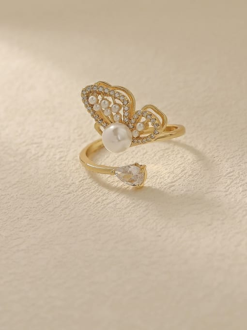 HYACINTH Brass Cubic Zirconia Butterfly Vintage Band Fashion Ring