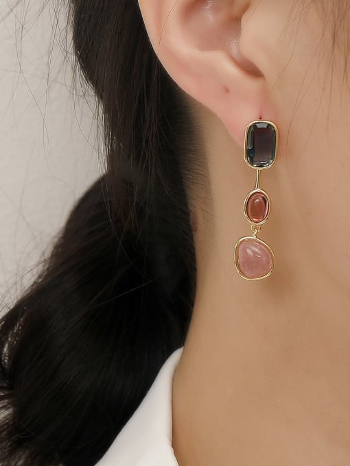 HYACINTH Brass Glass Stone Geometric Vintage Drop Trend Korean Fashion Earring 1