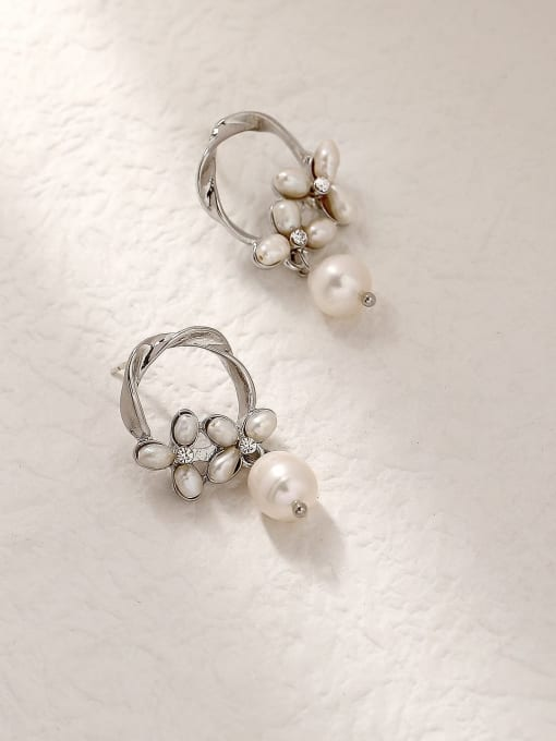 White K Brass Imitation Pearl Geometric Vintage Drop Trend Korean Fashion Earring