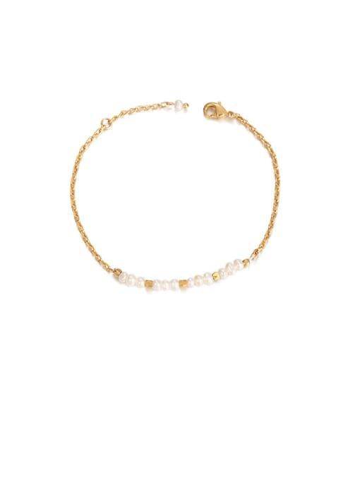 Pearl Bracelet Brass Imitation Pearl Irregular Minimalist Bracelet