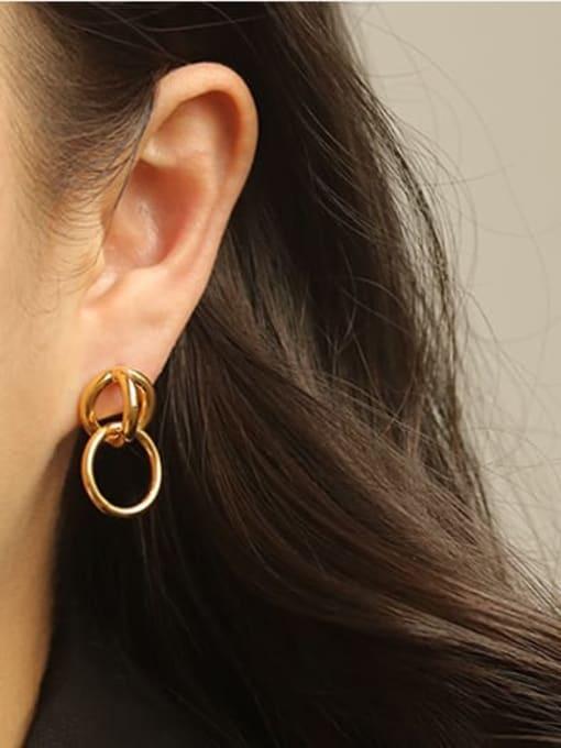 ACCA Brass Hollow geometry Vintage Drop Earring 2