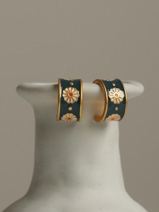 ACCA Brass Enamel Flower Vintage Stud Earring 3