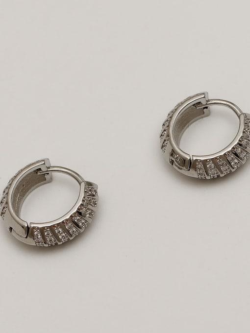 HYACINTH Brass Cubic Zirconia Geometric Vintage Huggie Earring 4