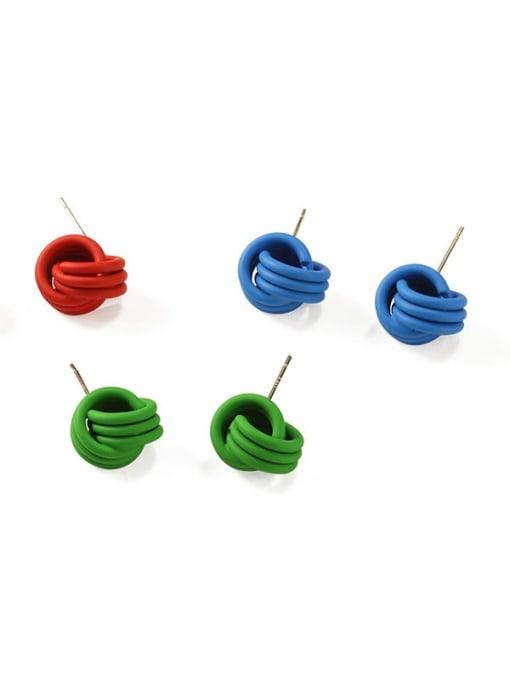 Five Color Brass Enamel Geometric Cute Stud Earring 2