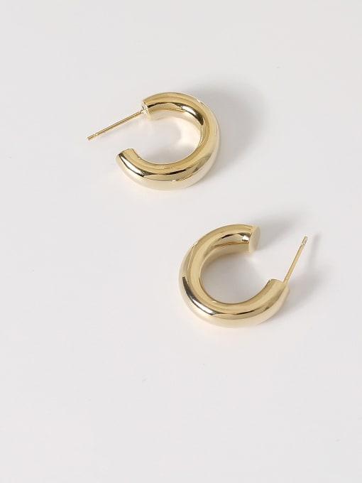HYACINTH Brass Smooth Geometric Minimalist Hoop Earring 3