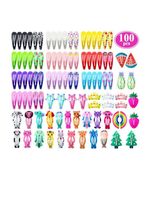 Multi Color 100pcs/set Alloy Multi Color Enamel Cute Water Drop Hair Barrette