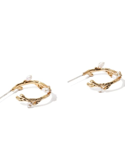 TINGS Brass Imitation Pearl Geometric Minimalist Stud Earring 4