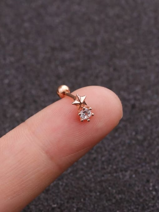 rose gold(Single) Brass Cubic Zirconia Star Minimalist Single Earring