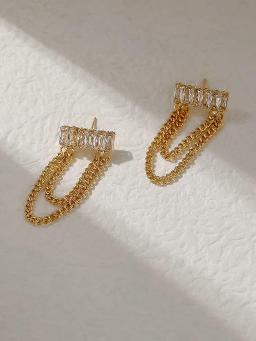 HYACINTH Brass Cubic Zirconia Tassel Vintage Threader Trend Korean Fashion Earring 0