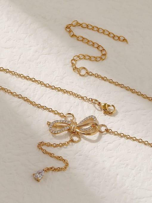 HYACINTH Brass Cubic Zirconia Bowknot Vintage Tassel Trend Korean Fashion Necklace 0