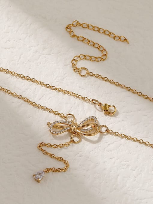HYACINTH Brass Cubic Zirconia Bowknot Vintage Tassel Trend Korean Fashion Necklace