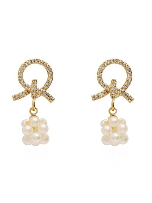 HYACINTH Brass Imitation Pearl Geometric Ethnic Drop Earring 0