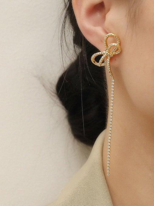 HYACINTH Brass Cubic Zirconia Bowknot Tassel Vintage Single Earring 1