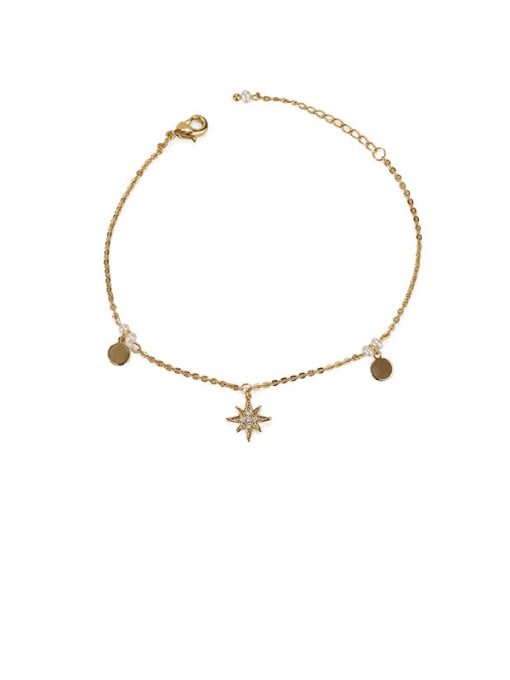 Round Sequin star zircon Brass Cubic Zirconia Star Minimalist Link Bracelet