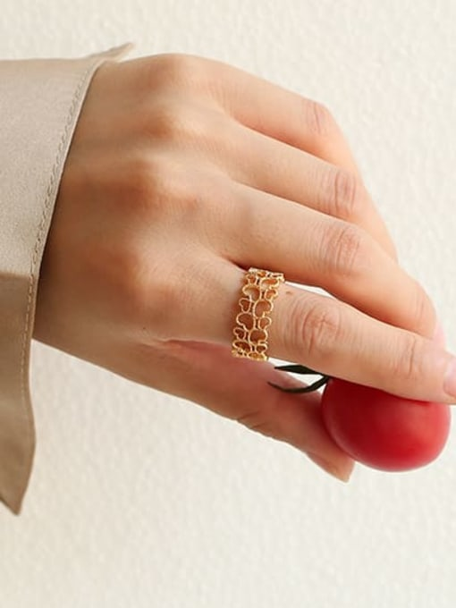 Five Color Brass Hollow Heart Hip Hop Band Ring 1