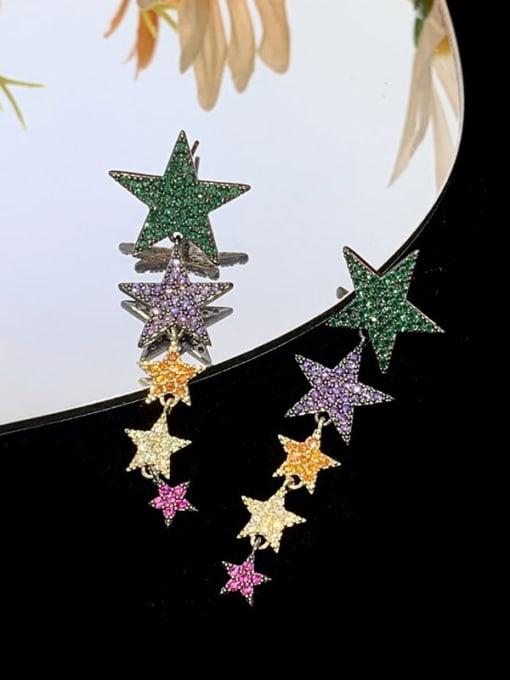 SUUTO Brass Cubic Zirconia Star Ethnic Drop Earring 2